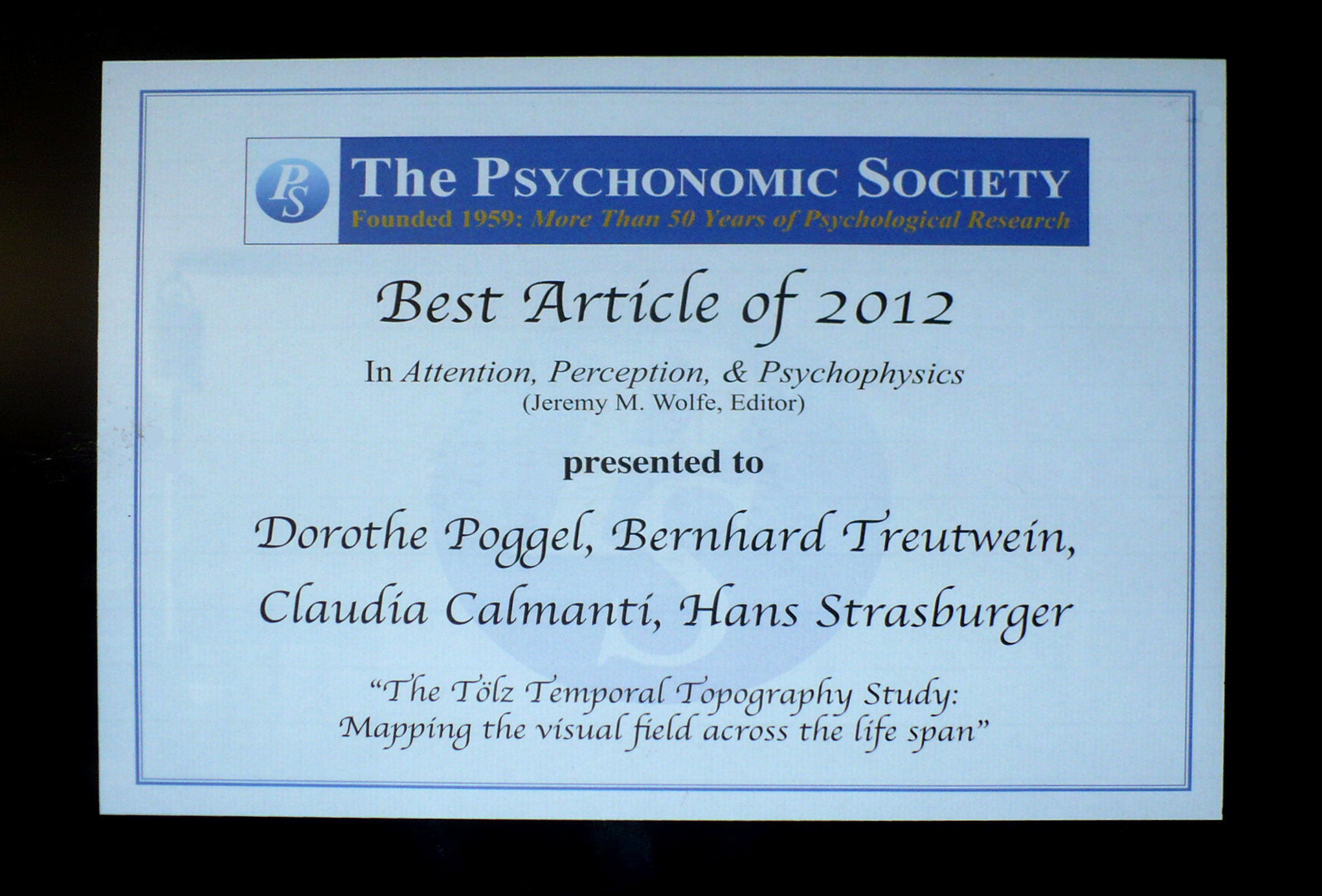Psychonomic Award